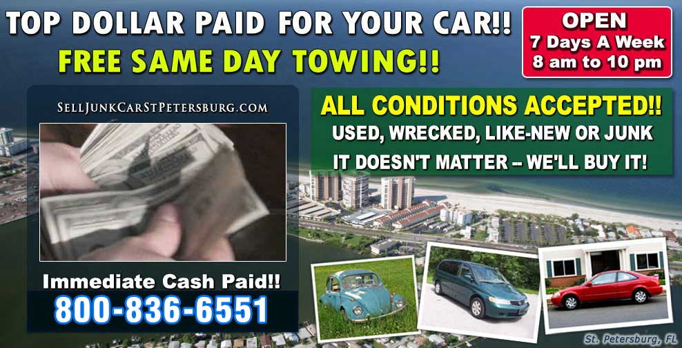 Car Scrapping Clearwater - Sell Junk Car St Petersburg